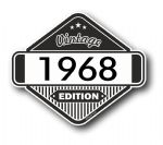 VIntage Edition 1968 Classic Retro Cafe Racer Design External Vinyl Car Motorcyle Sticker 85x70mm